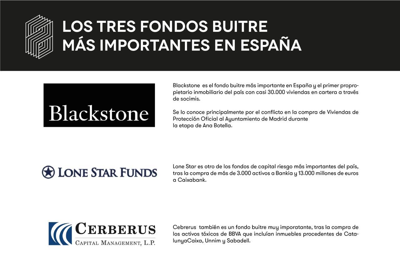 Los tres fondos buitre más importantes con presencia en España son Blackstone, Lone Star Funds y Cerberus