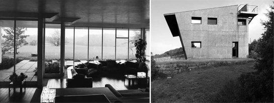 Izda. Casa per vacanze ad Alzate Brianza, 1967. Drcha. Villa Sbandata, 2004.