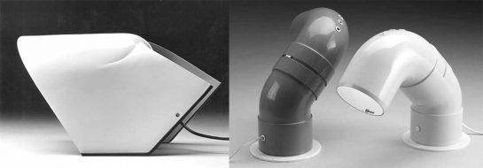 Izda. Lámpara para Stilnovo, 1970. Drcha. Lámpara 602, 1968