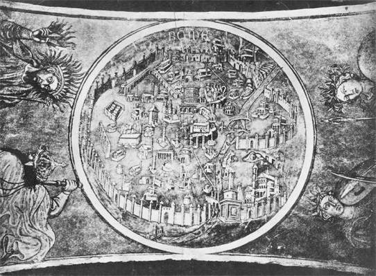 Mapa de Roma, mural obra del pintor Taddeo