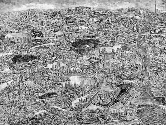 Mapa de Tokio, 2014. Elaborado por el artista Sohei Nishino.
