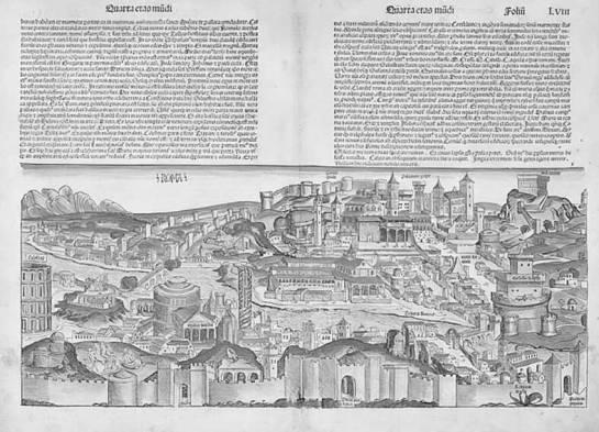 """Xilografía del Mapa de Roma perteneciente al libro """"Crónicas de Núremberg"""""""