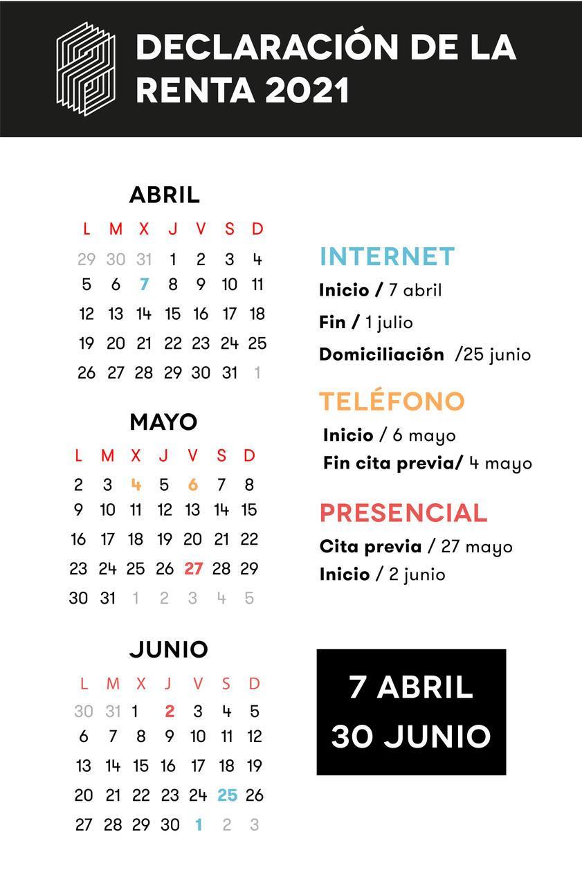 calendario de fechas para presentar la declaración de la renta 2021 por internet, teléfono y presencial