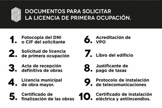 Listado de documentos para solicitar la licencia de primera ocupación