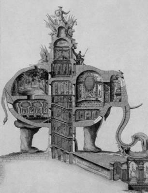 Elefante Triunfal, Charles-François Ribart de Chamoust. París, 1758. Fuente: Phantom Architecture, Philip Wilkinson.