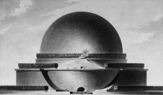 Cenotafio de Newton. Étienne-Louis Boullée, 1784. Fuente: Wikipedia.