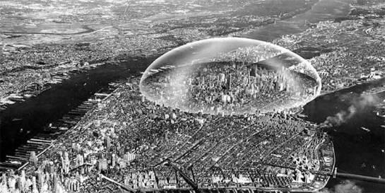 Una cúpula sobre Manhattan. Richard Buckminster Fuller, 1968. Fuente: Phantom Architecture, Philip Wilkinson.