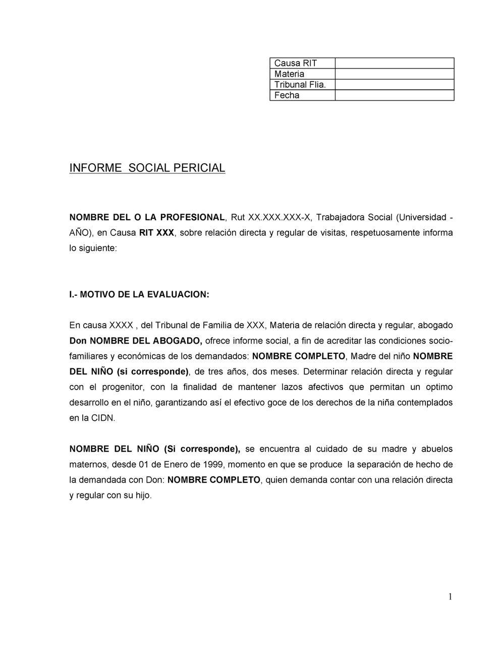 ejemplo de informe pericial que explica qué elementos debe tener el documento