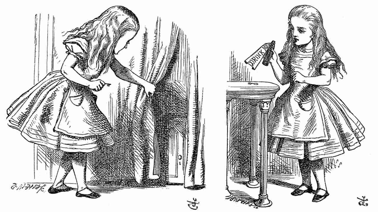 Ilustración original del libro Alicia en el país de las maravillas donde la protagonista interactúa con diferentes objetos