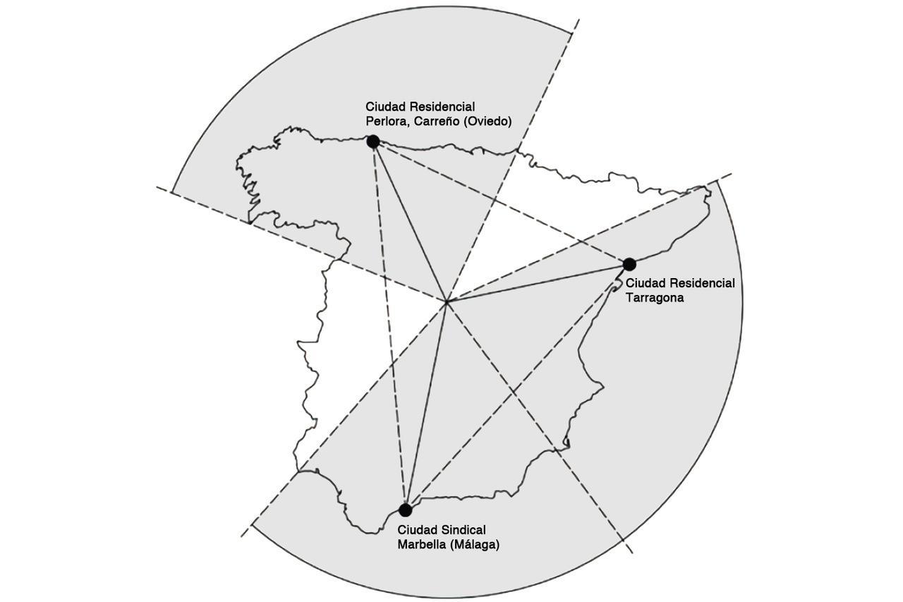 La localización de las tres ciudades de vacaciones se diseñó para que fueran equidistantes unas de otras