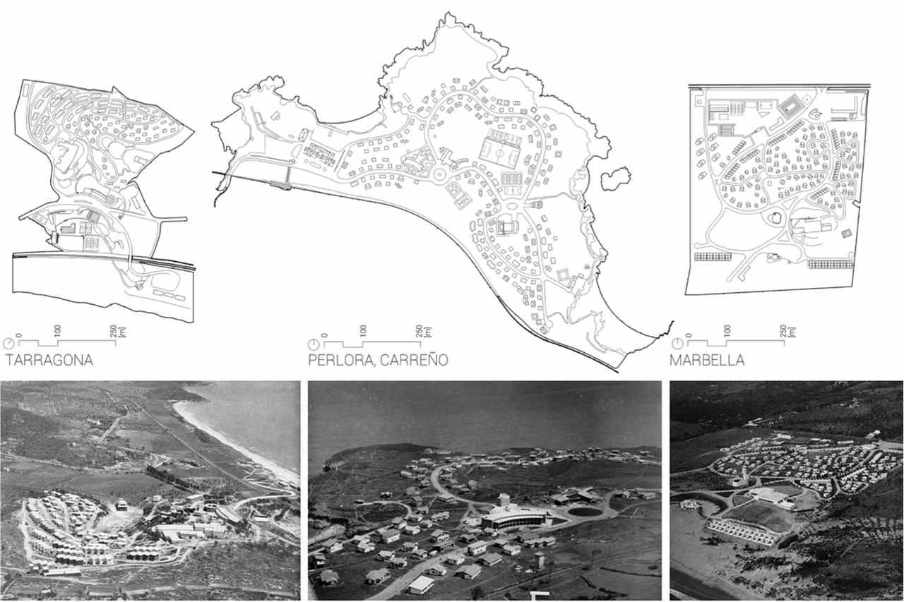 la Obra Sindical del Hogar construyó durante la dictadura Franquista tres complejos vacacionales: Tarrragona, Perlora y Marbella